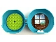 Part No: 29632c04pb01  Name: Container, Pod with Lime 6 x 6 Round Plate and White 1 x 2 Plate with Friends Snow Resort Pattern (Stickers) - Set 5004920