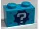 Part No: 3004pb042  Name: Brick 1 x 2 with White Question Mark on Black Gear Pattern