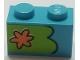 Part No: 3004pb196L  Name: Brick 1 x 2 with Orange Flower on Lime Background Pattern, Model Left (Sticker) - Set 75903