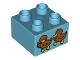 Part No: 3437pb072  Name: Duplo, Brick 2 x 2 with 2 Baby Ducks Pattern