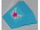 Part No: 64225pb007  Name: Wedge 4 x 3 No Studs with Magenta Star on Butterfly Wings Pattern (Sticker) - Set 3063