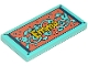 Part No: 87079pb0587  Name: Tile 2 x 4 with 'Emma' and Medium Azure and Coral Beach Towel Pattern