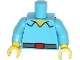 Part No: 973pb1681c01  Name: Torso Simpsons Shirt Open Collar with Dark Bluish Gray Belt with Red Buckle Pattern / Medium Azure Arms / Yellow Hands