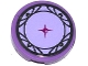 Part No: 14769pb044  Name: Tile, Round 2 x 2 with Bottom Stud Holder with Lavender Cushion with Magenta Button and Silver Hearts and Trim Pattern (Sticker) - Set 41062