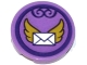 Part No: 14769pb122  Name: Tile, Round 2 x 2 with Bottom Stud Holder with Envelope with Gold Wings in Dark Purple Circle Pattern (Sticker) - Set 41176