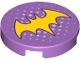 Part No: 14769pb192  Name: Tile, Round 2 x 2 with Bottom Stud Holder with Yellow Bat Symbol and Small White Dots Pattern