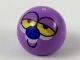 Part No: 32474pb014  Name: Technic, Ball Joint with Half-Closed Yellow Eyes, Blue Nose, Smile Pattern (Powerpuff Girls Octi Face)