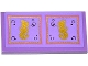 Part No: 87079pb0202  Name: Tile 2 x 4 with Gold Seahorses and Bubbles in 2 Gold and Medium Lavender Squares Pattern (Sticker) - Set 41063