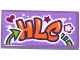 Part No: 87079pb0285  Name: Tile 2 x 4 with Heart, Star, Flower and 'HLC' Graffiti Pattern (Sticker) - Set 41099
