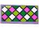Part No: 87079pb0328  Name: Tile 2 x 4 with Dark Pink, Green, Lime and White Squares Mosaic Pattern (Sticker) - Set 41065
