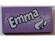 Part No: 87079pb0541  Name: Tile 2 x 4 with 'Emma' and Paint Brush and Swirl Pattern