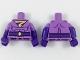 Part No: 973pb2947c01  Name: Torso Wonder Twin Zan Pattern / Dark Purple Arms with Medium Lavender Short Sleeves Pattern / Dark Purple Hands
