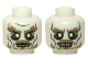 Part No: 3626cpb0951  Name: Minifigure, Head Dual Sided LotR Ghost with Glowing Eyes and Moustache, Bottom Teeth / Top and Bottom Teeth Pattern - Hollow Stud