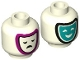 Part No: 3626cpb2824  Name: Minifigure, Head Dual Sided Dark Turquoise and Magenta Tragedy/Comedy Theater Masks Pattern - Hollow Stud