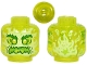 Part No: 28621pb0003  Name: Minifigure, Head Alien Ghost with Yellowish Green Face, Bushy Eyebrows, Angry and Flames in Back Pattern - Vented Stud