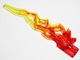 Part No: 11302pb01  Name: Hero Factory Weapon Accessory - Flame/Lightning Bolt with Axle Hole with Marbled Trans-Yellow Pattern
