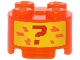 Part No: 3941pb30  Name: Brick, Round 2 x 2 with Axle Hole with Red Question Mark and Coral Pixels Pattern (Sticker) - Set 71707