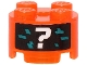 Part No: 3941pb31  Name: Brick, Round 2 x 2 with Axle Hole with White Question Mark and Dark Turquoise Pixels Pattern (Sticker) - Set 71713