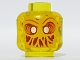 Part No: 28621pb0007  Name: Minifigure, Head Alien Ghost with Bright Light Orange Face, Slime Mouth and Raised Left Eyebrow Pattern - Vented Stud