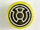 Part No: 98138pb114  Name: Tile, Round 1 x 1 with Black and White Yellow Lantern Logo Pattern