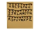 Part No: 10202pb011  Name: Tile 6 x 6 with Bottom Tubes with Black Alphabet Letters and Multicolored Christmas Lights on Tan Background Pattern (Sticker) - Set 75810