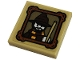 Part No: 11203pb069  Name: Tile, Modified 2 x 2 Inverted with Minifigure with Wizards Hat and Magic Wand in Picture Frame Pattern (Sticker) - Set 76382