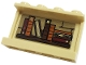 Part No: 14718pb043  Name: Panel 1 x 4 x 2 with Side Supports - Hollow Studs with Wooden Shelf with 9 Dark Orange, Dark Red and Reddish Brown Books Pattern on Inside (Sticker) - Set 76382