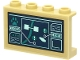Part No: 14718pb044  Name: Panel 1 x 4 x 2 with Side Supports - Hollow Studs with Dark Blue Screen with 'RESCUE', Map, Paw Print, Text and Chart Pattern (Sticker) - Set 60307