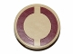 Part No: 14769pb019  Name: Tile, Round 2 x 2 with Bottom Stud Holder with Dark Red SW Semicircles on Tan Background Pattern (Sticker)