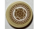 Part No: 14769pb330  Name: Tile, Round 2 x 2 with Bottom Stud Holder with Medium Nougat, Tan and White Hawaiian Sea Turtle Tribal Pattern (Sticker) - Set 41149