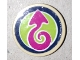 Part No: 14769pb358  Name: Tile, Round 2 x 2 with Bottom Stud Holder with Magenta Arrow on Lime Background with Dark Blue Border Pattern (Sticker) - Set 41173