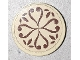 Part No: 14769pb359  Name: Tile, Round 2 x 2 with Bottom Stud Holder with Reddish Brown Elves Scrollwork on Tan Background Pattern (Sticker) - Set 41173