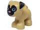 Part No: 24111pb01  Name: Dog, Friends, Pug, Standing with Black Face and Ears, Bright Pink Nose and Dark Azure Eyes Pattern (Toffee)