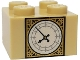 Part No: 3003pb091  Name: Brick 2 x 2 with Pearl Gold and White Big Ben Clock Face Pattern