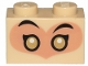 Part No: 3004pb205  Name: Brick 1 x 2 with Gold and White Eyes and Black Eyebrows on Nougat Background Pattern
