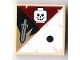 Part No: 3068bpb0417  Name: Tile 2 x 2 with Groove with 1 Black Dot, Skull and Sword Pattern