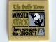 Part No: 3068bpb0597  Name: Tile 2 x 2 with Groove with Newspaper 'The Daily News', 'MONSTER ATTACK' and 'Have you seen this GHOST!!'  Pattern (Sticker) - Set 10228