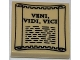 Part No: 3068bpb0635  Name: Tile 2 x 2 with Groove with 'VENI, VIDI, VICI' on Scroll Pattern