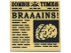Part No: 3068bpb0681  Name: Tile 2 x 2 with Groove with Newspaper 'ZOMBIE TIMES' and 'BRAAAINS!' Pattern