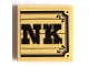 Part No: 3068bpb0820  Name: Tile 2 x 2 with Groove with Black 'NK' on Wood Plaque Background Pattern (Sticker) - Set 70800