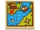Part No: 3068bpb0906  Name: Tile 2 x 2 with Groove with Map Blue Water, Lime Land, Sailing Ship, Treasure Chest and Red 'X' Pattern