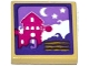 Part No: 3068bpb1002  Name: Tile 2 x 2 with Groove with House, Moon and Stars Scene Pattern (Sticker) - Set 41176