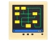 Part No: 3068bpb1058  Name: Tile 2 x 2 with Groove with Digital Screen with Yellow Rectangles and Bright Green Lines Pattern (Sticker) - Set 70900