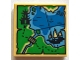 Part No: 3068bpb1098  Name: Tile 2 x 2 with Groove with Ninjago Map with Pagoda, Bridge, Ship, Anchor, Water, Dotted Line Trail, and Script 'DD' Pattern