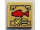 Part No: 3068bpb1320  Name: Tile 2 x 2 with Groove with Red Fish and Gold Ninjago Logogram '96' on Tan Background Pattern (Sticker) - Set 70607