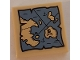 Part No: 3068bpb1507  Name: Tile 2 x 2 with Groove with Map Blue Water, Tan Land, Anchor and Skull with Crossed Bones Pattern (Sticker) - Set 70810