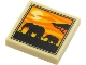 Part No: 3068bpb1644  Name: Tile 2 x 2 with Groove with 2 Elephants, Tree and Sunset Pattern