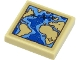 Part No: 3068bpb1686  Name: Tile 2 x 2 with Groove with World Map with Tan Land, Blue Water and Black Airplane Pattern (Sticker) - Set 40450