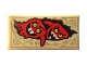 Part No: 3069bpb0438  Name: Tile 1 x 2 with Groove with Dark Tan Markings and 2 Red Monster Heads with Horns Pattern (Nexo Knights Book of Chaos)