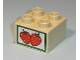Part No: 3437pb036  Name: Duplo, Brick 2 x 2 with Strawberries Crate Label Pattern